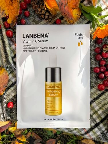 Маска для лица тканевая Vitamin C Serum осветляющая 25мл LANBENA