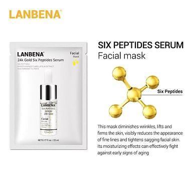 Маска для лица тканевая 24k Gold Six Peptides Serum омолаживающая 25 мл LANBENA