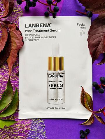 Противовоспалительная тканевая маска для лица Pore Treatment Serum Facial Mask для лечения расширенных пор 25 мл LANBENA