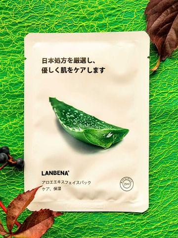 Тканевая маска для лица Aloe Facial Mask с экстрактами алое, мяты и гиалуроновой кислотой 25 мл LANBENA