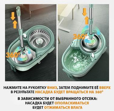 Швабра с отжимом + ведро П39185