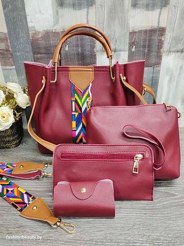 Набор сумок 4 в 1 модель 332 (бордовый)