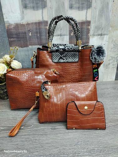 Набор сумок 4 в 1 модель 336 (карамель/питон )