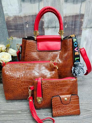Набор сумок 4 в 1 модель 337 (карамель/красный )