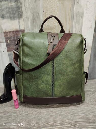 Рюкзак-трансформер женский модель 341(кленовый зеленый)