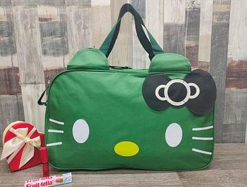 Сумка большая многофункциональная женская Hello Kitty (глубокий зеленый) модель 351