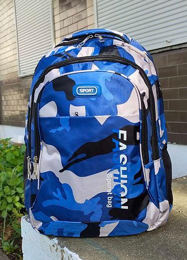 Рюкзак городской в стиле милитари модель 391(синий/серый)
