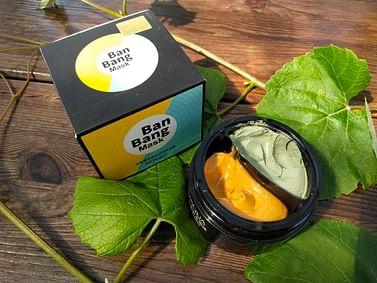 BanBang MaskОчищающая и увлажняющая двухцветная маска для лица с зеленой глиной , 50+50 г Bioaqua