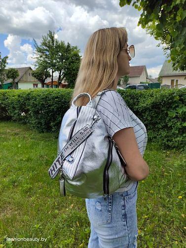 Рюкзак из натуральной кожи модель 402 (серебро)