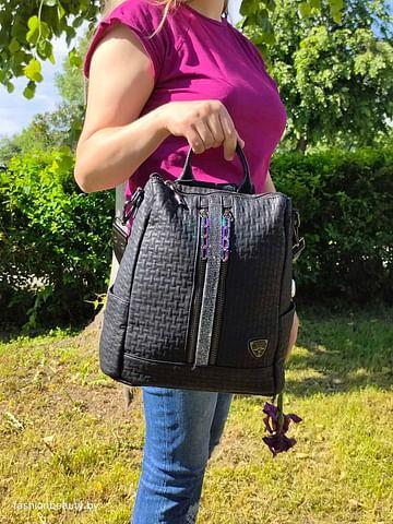 Рюкзак-трансформер из натуральной кожи модель 424 (черный)
