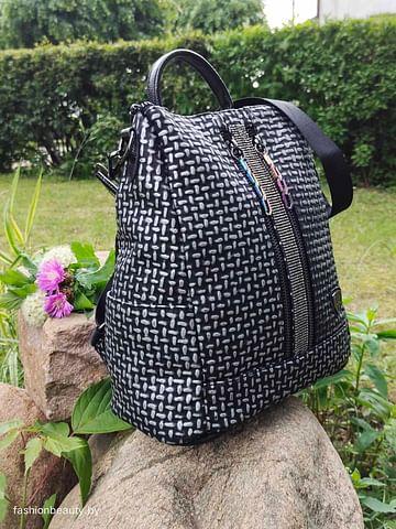 Рюкзак-трансформер из натуральной кожи модель 424 (черный/серебро)