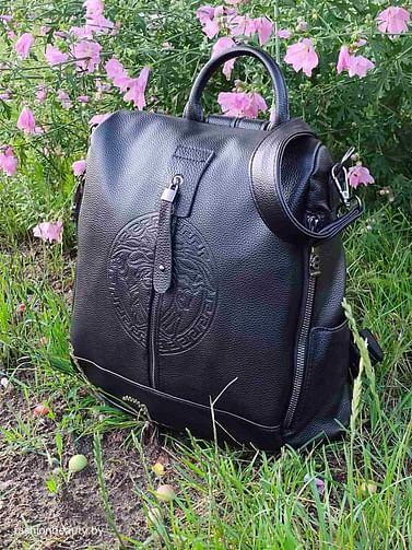 Рюкзак-трансформер из натуральной кожи модель 435 (черный)