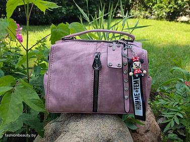 Женская сумка-трансформер из натуральной кожи модель 445 (пыльная роза)