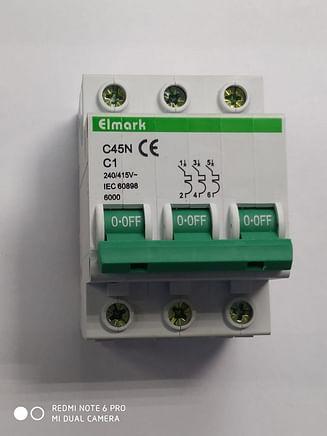 Выключатель автоматический реечный Elmark C45N 6.0KA 3Р – 1А