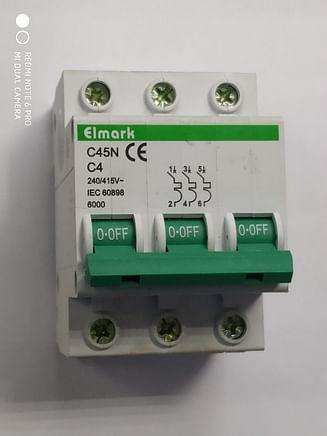 Выключатель автоматический реечный Elmark C45N 6.0KA 3Р – 4А