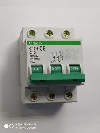 Выключатель автоматический реечный Elmark C45N 6.0KA 3Р – 10А