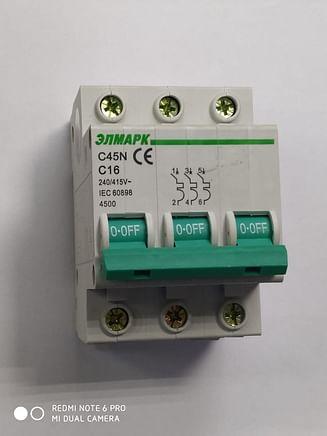 Выключатель автоматический реечный Elmark C45N 4.5KA 3Р – 16А