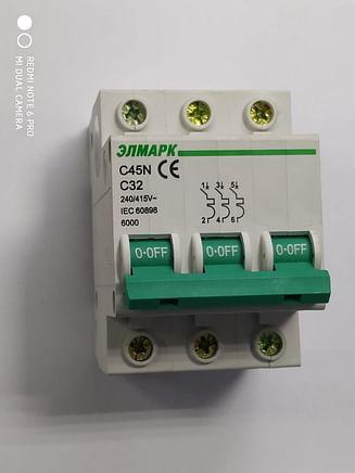 Выключатель автоматический реечный Elmark C45N 6.0KA 3Р – 32А