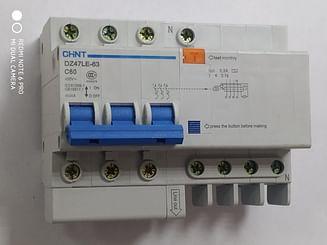 Дифавтоматы CHINT DZ47LE-63 4.5KA 3Р+N 0.3A C60