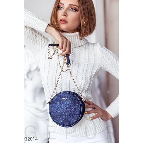 Круглая блестящая сумка Leather trend
