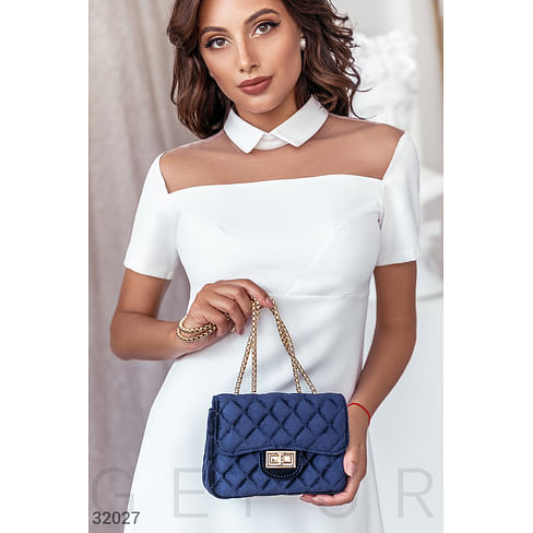 Синяя бархатная сумка Leather trend