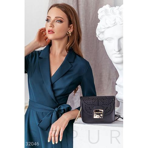 Черная сумка с перфорацией Leather trend