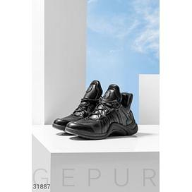 Черные массивные кроссовки Leather trend