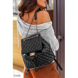 Черный стеганый рюкзак Leather trend