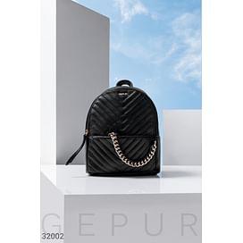 Городской черный рюкзак Leather trend