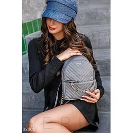 Маленький серый рюкзак Leather trend