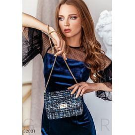 Твидовая компактная сумка Leather trend