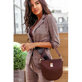 Деловая бордовая сумка Leather trend