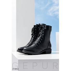 Кожаные ботинки со шнуровкой Leather trend