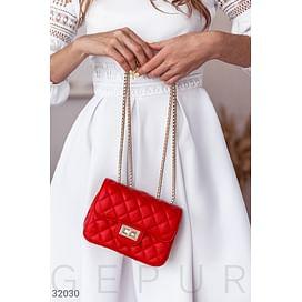 Стеганая красная сумка Leather trend