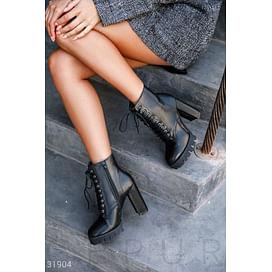 Кожаные ботинки на каблуке Leather trend
