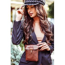 Сумка-ремень шоколадного цвета Leather trend