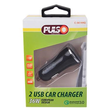 Автомобильное зарядное устройство PULSO, 2USB QC3.0 36W 12/24V (3.6-6.5V*3A,6.5-9V*2A,9V-12V*1.5A) (C-36144Q) Vitol