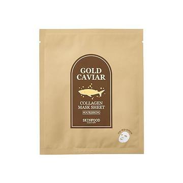 Тканевая маска с икрой и коллагеном SKINFOOD Gold Caviar Collagen Mask Sheet, 28гр.
