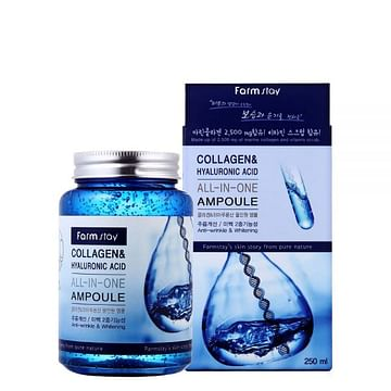 Сыворотка для лица Farm Stay Collagen & Hyaluronic Acid All-in-One Ampoule, 250мл.