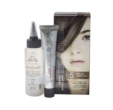 Краска для волос на фруктовой основе №5 (светло-коричневый) Welcos Fruits Wax Pearl Hair Color, 60гр.+60мл.
