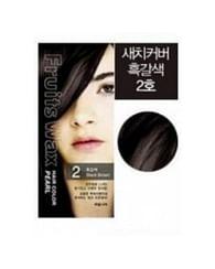 Краска для волос на фруктовой основе №2 (черно-коричневый) Welcos Fruits Wax Pearl Hair Color, 60гр.+60мл.