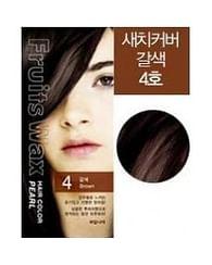 Краска для волос на фруктовой основе №4 (коричневый) Welcos Fruits Wax Pearl Hair Color, 60гр.+60мл.