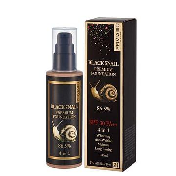 Тональный крем с муцином улитки (тон 21) Privia U Black Snail Premium Foundation SPF 30 PA++ 4 in 1, 100мл.