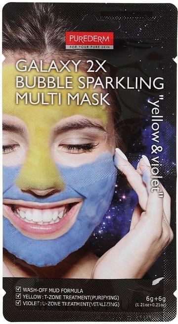 Мультимаска для комб. кожи PUREDERM Galaxy 2X Bubble Sparkling Multi Mask Yellow & Violet, 2*6гр.