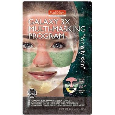 Комбинированный набор масок для жирной кожи Purederm PUREDERM Galaxy 3X Multi-Masking Program For Oily Skin, 3*5гр.