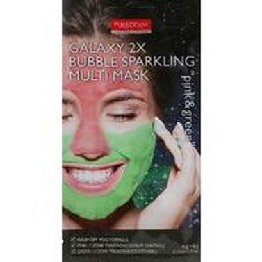 Комбинированная маска с активным кислородом для лица PUREDERM Galaxy 2X Bubble Sparkling Multi Mask Pink & Green, 2*6гр.