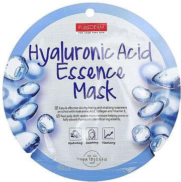 Маска для лица с гиалуроновой кислотой PUREDERM Hyaluronic Acid Essence Mask, 18гр.