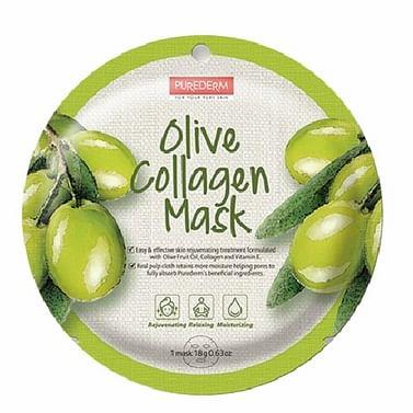 Коллагеновая тканевая маска с экстрактом плодов оливы PUREDERM Olive Collagen Mask, 18гр.