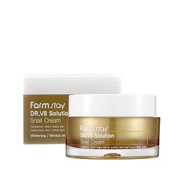 Восстанавливающий крем с муцином улитки Farm Stay Dr.V8 Solution Snail Cream, 50мл.