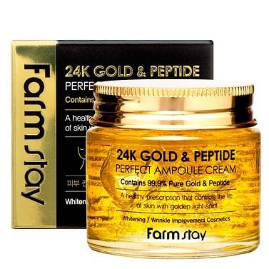 Ампульный крем с золотом и пептидами Farm Stay 24K Gold & Peptide Perfect Ampoule Cream, 80мл.